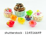 colorful cup cake and jelly... | Shutterstock . vector #114516649