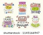 set of hand written... | Shutterstock .eps vector #1145166947