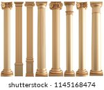 golden columns on a white... | Shutterstock . vector #1145168474