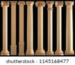 golden columns on a black... | Shutterstock . vector #1145168477
