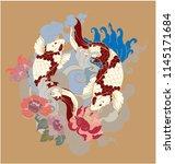 japanese koi tattoo design with ...   Shutterstock .eps vector #1145171684