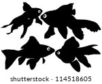 Goldfish Vector Silhouettes On...
