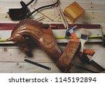 top view of wooden horse... | Shutterstock . vector #1145192894