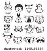 vector set of cute happy animal ... | Shutterstock .eps vector #1145198834
