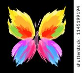 butterfly from color splashes... | Shutterstock .eps vector #1145199194