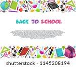 hand drawn school objects in... | Shutterstock .eps vector #1145208194