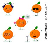 a set of five oranges  in a... | Shutterstock .eps vector #1145212874