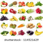 collection of fresh fruits and... | Shutterstock . vector #114521629