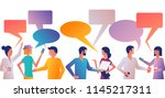 discuss people. many men and... | Shutterstock .eps vector #1145217311