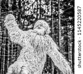 Stock photo yeti fairy tale character in winter forest outdoor fantasy black white photo 1145220587