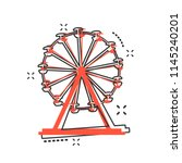 vector cartoon ferris wheel... | Shutterstock .eps vector #1145240201