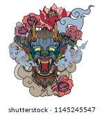 japanese dragon koi fish...   Shutterstock .eps vector #1145245547