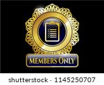 gold badge or emblem with list ... | Shutterstock .eps vector #1145250707