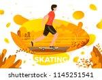 vector illustration    skating... | Shutterstock .eps vector #1145251541