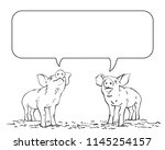 sketch of two talking pigs and... | Shutterstock .eps vector #1145254157
