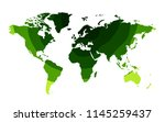 green waves world map background | Shutterstock .eps vector #1145259437