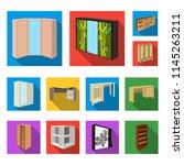 bedroom furniture flat icons in ... | Shutterstock .eps vector #1145263211