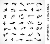 hand drawn arrows  vector set | Shutterstock .eps vector #1145265821