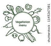 vegetables. vegetarian menu.... | Shutterstock .eps vector #1145267381