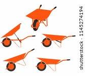 wheelbarrow multiple views and... | Shutterstock .eps vector #1145274194