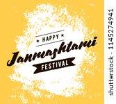 happy janmashtami. vector logo... | Shutterstock .eps vector #1145274941