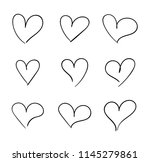vector hand drawn hearts set ... | Shutterstock .eps vector #1145279861