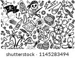 doodle cartoon set of objects... | Shutterstock . vector #1145283494