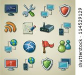 freehand icons   networking and ... | Shutterstock .eps vector #114529129