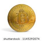 bitcoin golden mockup 3d... | Shutterstock . vector #1145292074