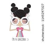 cute girl illustration.sweet... | Shutterstock .eps vector #1145297327
