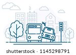 the accident of the bus and the ...   Shutterstock .eps vector #1145298791