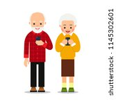 old people with phone. elderly... | Shutterstock .eps vector #1145302601