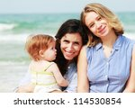 two beautiful girls with a baby ... | Shutterstock . vector #114530854