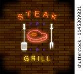 vector steak grill neon... | Shutterstock .eps vector #1145309831