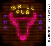 vector grill pub neon colorful... | Shutterstock .eps vector #1145309834