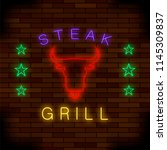 steak house neon colorful sign... | Shutterstock . vector #1145309837
