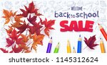 welcome back to school sale... | Shutterstock .eps vector #1145312624