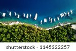 aerial photo of sail boats and... | Shutterstock . vector #1145322257