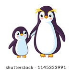 penguins hold on to the hand.... | Shutterstock .eps vector #1145323991