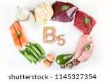 foods with vitamin b5 ... | Shutterstock . vector #1145327354