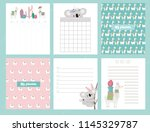 cute set of weekly planner and... | Shutterstock .eps vector #1145329787