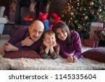 christmas portrait of beautiful ... | Shutterstock . vector #1145335604