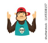 funny hipster monkey character... | Shutterstock .eps vector #1145338157