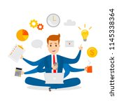 multitasking businessman.... | Shutterstock .eps vector #1145338364
