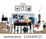 when the party is over. messy... | Shutterstock .eps vector #1145339171