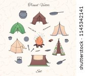 hand drawn vector camping set... | Shutterstock .eps vector #1145342141