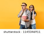 young scared couple woman man... | Shutterstock . vector #1145346911