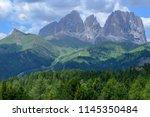 plattkofel and langkofel... | Shutterstock . vector #1145350484