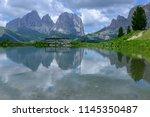 plattkofel and langkofel... | Shutterstock . vector #1145350487