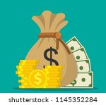 money saving and money bag icon.... | Shutterstock .eps vector #1145352284